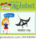 Flashcard letter m is for manta ray 26448084