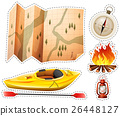 Camping sticker set with canoe and map 26448127