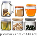 Different types of food in jars 26448379