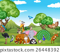 Forest scene with many wild animals 26448392