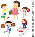 Shoppers with bags and cart 26448407