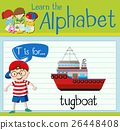 Flashcard letter T is for tugboat 26448408