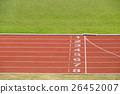 Start and finish line of red running track sports. 26452007
