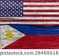 USA flag and philippines flag on wood texture 26460018
