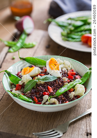 Rice with Boiled egg  and Snow pea salad 26460089