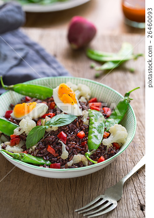 Rice with Boiled egg  and Snow pea salad 26460093