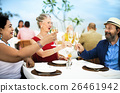 Mature Friends Fine Dining Outdoors Concept 26461942