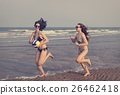 Women Friendship Playing Volleyball Beach Summer Concept 26462418