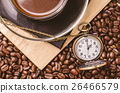 Coffee time concept with vintage pocket watch 26466579