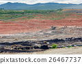 Mining dump trucks working in Lignite coalmine 26467737
