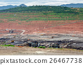 Mining dump trucks working in Lignite coalmine 26467738
