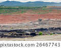 Mining dump trucks working in Lignite coalmine 26467743