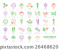 Vegetables line icons set isolated, Spices logo 26468620