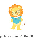 Lion Smiling Bookworm Zoo Character Wearing 26469698