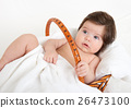 baby in basket on white towel, healthcare concept 26473100
