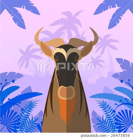 Horned Horse Gnu on the Jungle Background 26473859