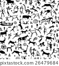 Rock paintings with ethnic people,seamless pattern 26479684