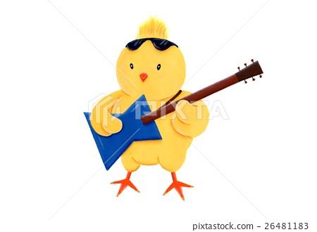 小雞 新年賀卡材料 吉他彈奏者 26481183