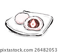 strawberry daifuku, daifuku, rice cake stuffed with bean jam and a strawberry 26482053