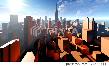 Generic cityscape architecture 3d rendering 26486411