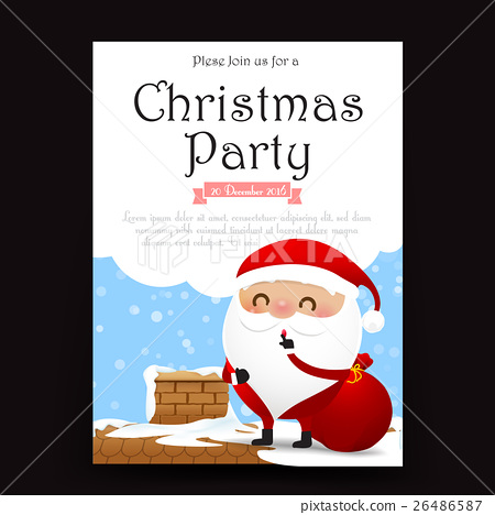 Merry Christmas invitation card template with - Stock Illustration ...
