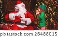 Santa Claus and elf child in Christmas 26488015