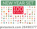 Christmas, New Year holidays icon big set. 26490377