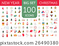 Christmas, New Year holidays icon big set 26490380