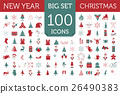 Christmas, New Year holidays icon big set 26490383