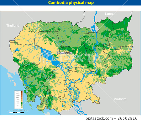 Vector illustration of  Cambodia physical map 26502816