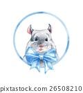 Chinchilla 1. Blue bow. Watercolor cute mouse. 26508210