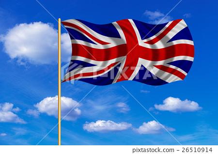 Flag of United Kingdom wavy on blue sky background 26510914