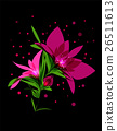 Magic pink flower blooming on black background 26511613