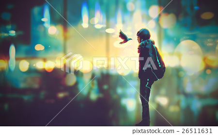 futuristic girl and a bird look each other 26511631