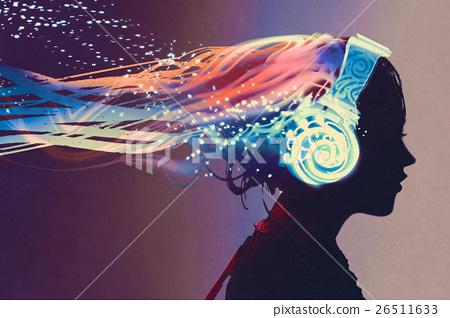 woman with magic glowing headphones 26511633