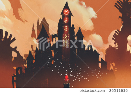 red knight standing in front of fantasy castle 26511636