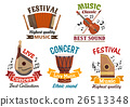 Musical instrumetns icons for festival, concert 26513348