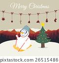 Snowman playing ski on mountain background. 26515486