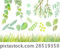 수채화 일러스트 녹색 세트 26519350