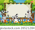 Lemurs and wooden frame template 26521284