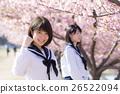 고교생과 벚꽃 이미지 26522094