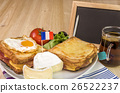 French breakfast and blank chalkboard 26522237