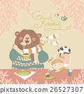 Girl drinking tea with a cute bear 26527307