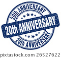 20th anniversary blue grunge stamp 26527622