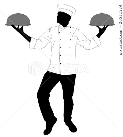 kitchen chef serving a meal silhouette 26531524