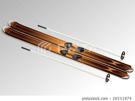 skis with ski poles 26531974