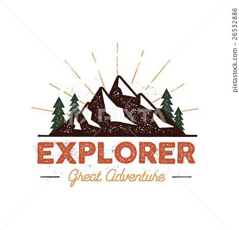 Outdoor explorer badge. Retro illustration of 26532886