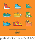 Colorful set with stylish footwear - sneakers 26534127