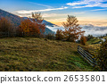 foggy and hot sunrise in Carpathian mountains 26535801