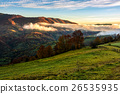 foggy and hot sunrise in Carpathian mountains 26535935